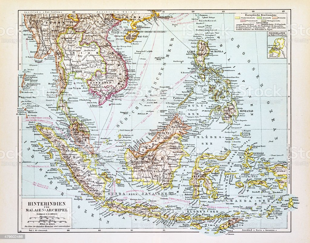 Map of Indochina 1895 vector art illustration