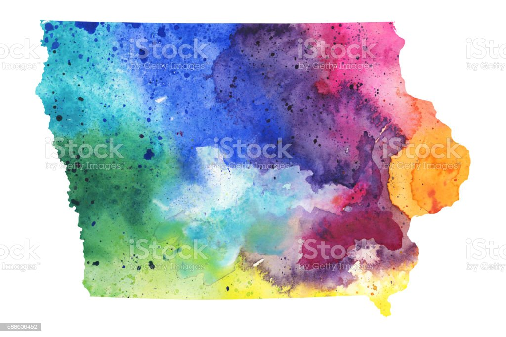 Map of Iowa with Watercolor Texture - Raster Illustration vector art illustration