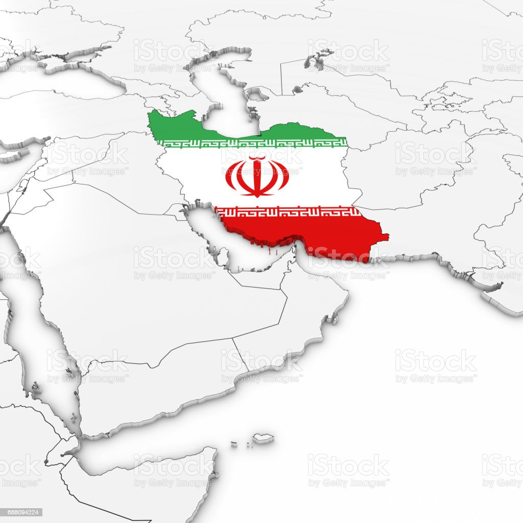 3D Map of Iran with Iranian Flag on White Background 3D Illustration vector art illustration