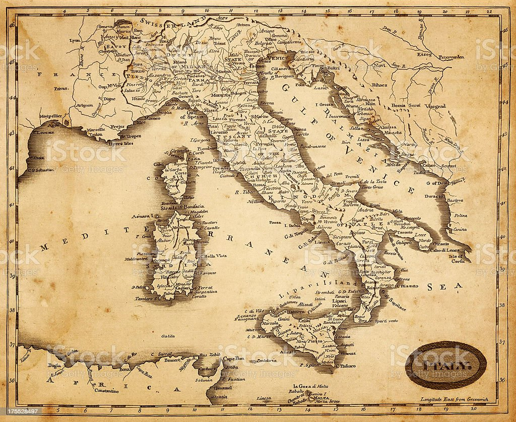 map of italy 1812 vector art illustration