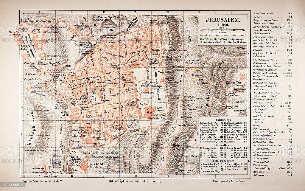 Map of Jerusalem 1895 stock photo