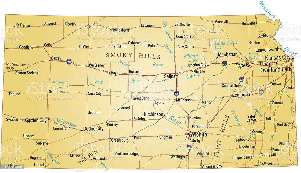 Map of Kansas royalty-free stock vector art