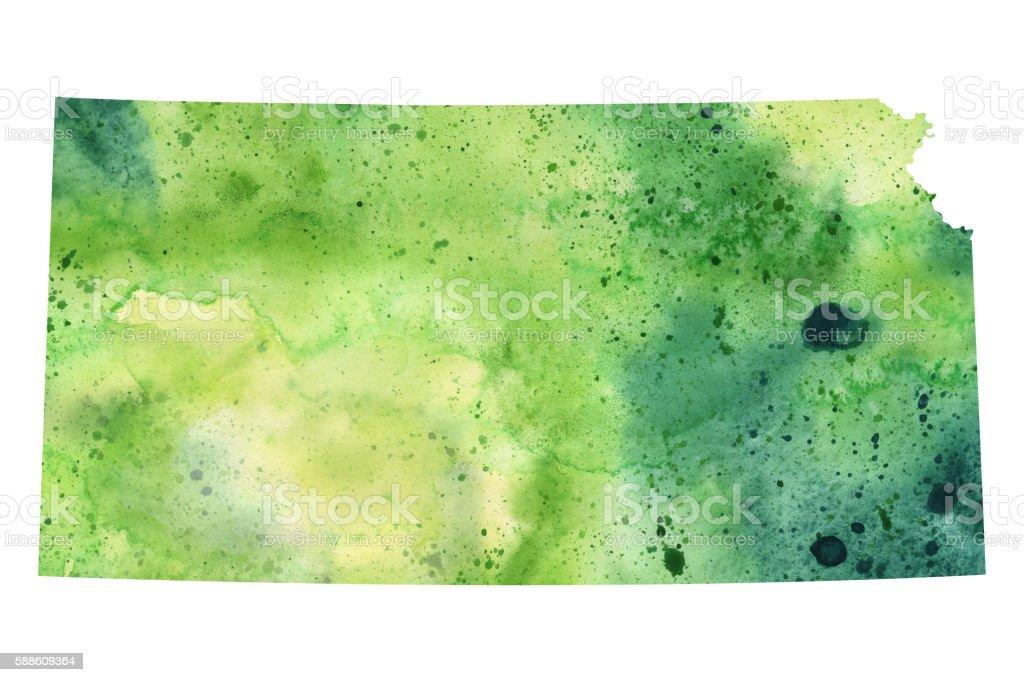 Map of Kansas with Watercolor Texture - Raster Illustration vector art illustration
