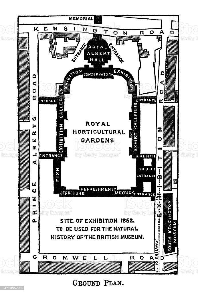 Map of Kensington museums area, London royalty-free stock vector art