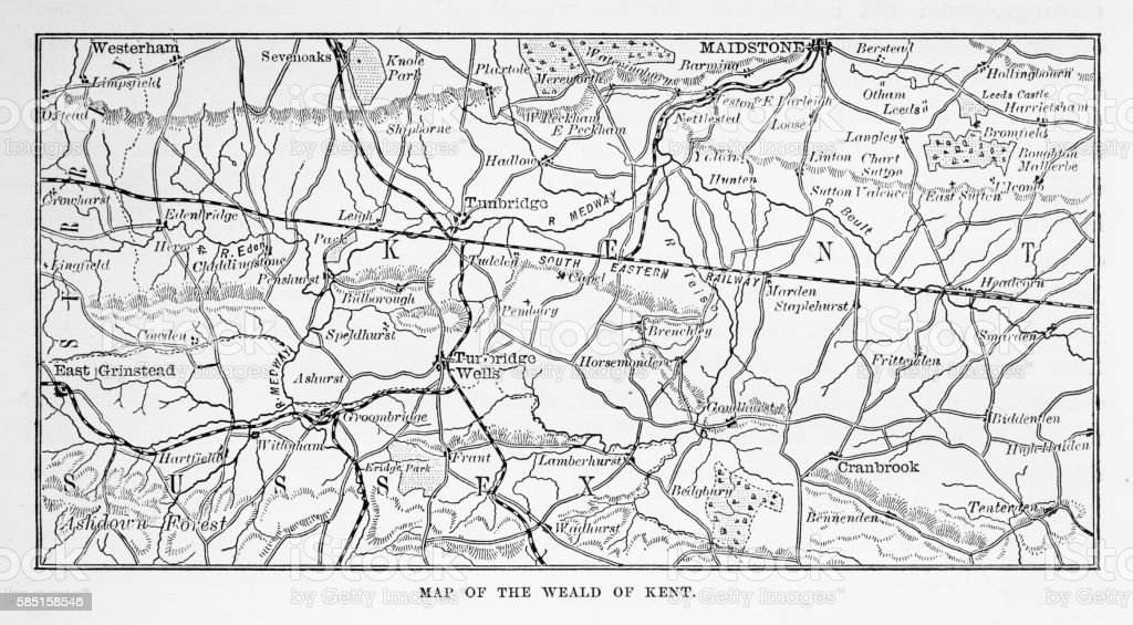 Map of Kent and Neighborhoods, England Victorian Engraving, 1840 vector art illustration
