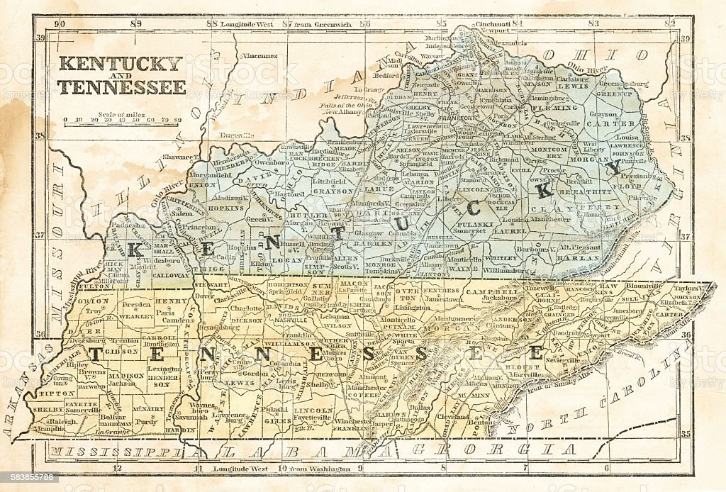 Map of Kentucky and Tennessee 1855 vector art illustration