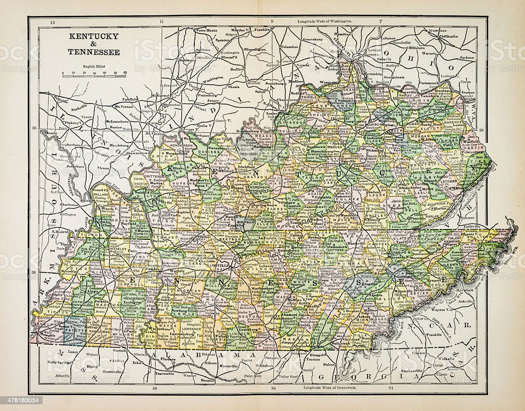 Map of Kentucky and Tennessee 1883 vector art illustration