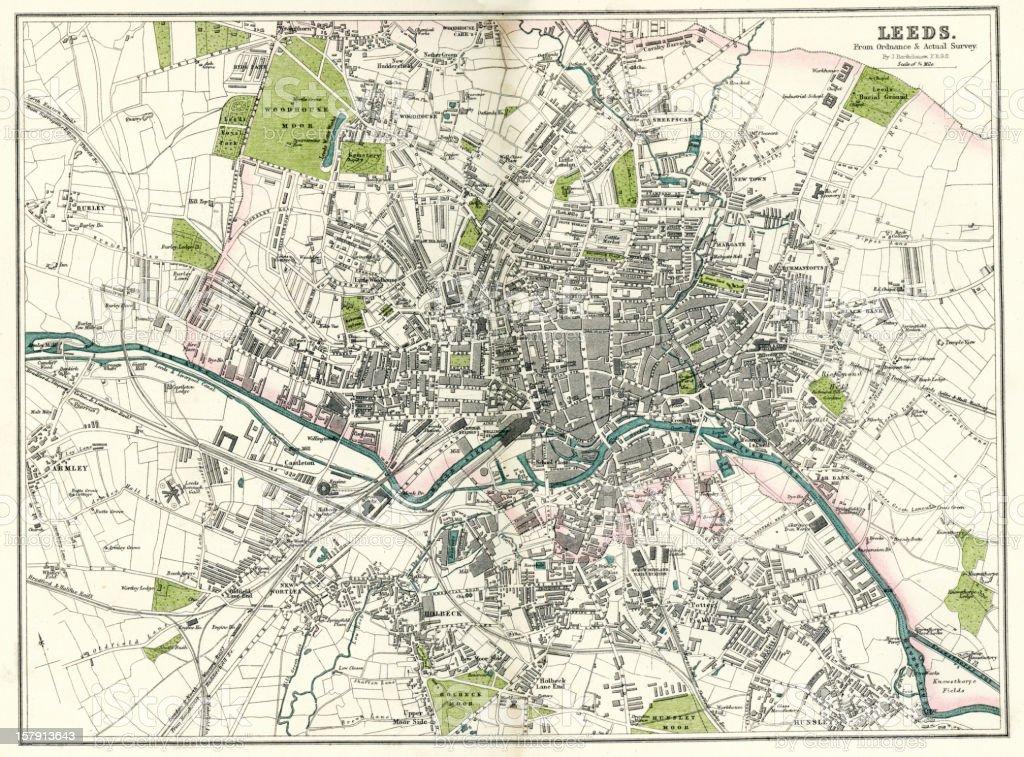 Map of Leeds vector art illustration