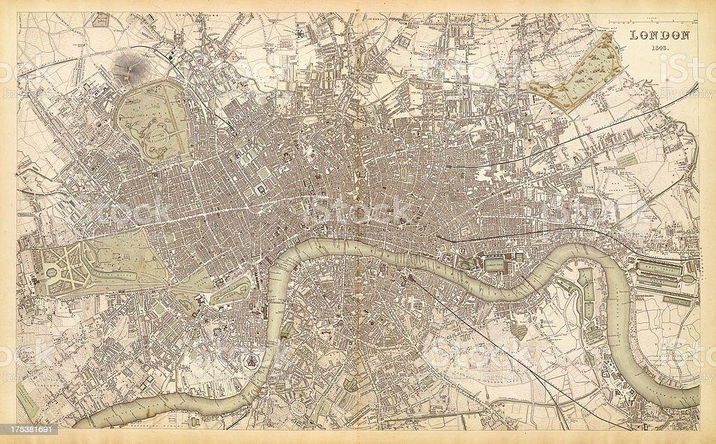 map of london 1843 vector art illustration