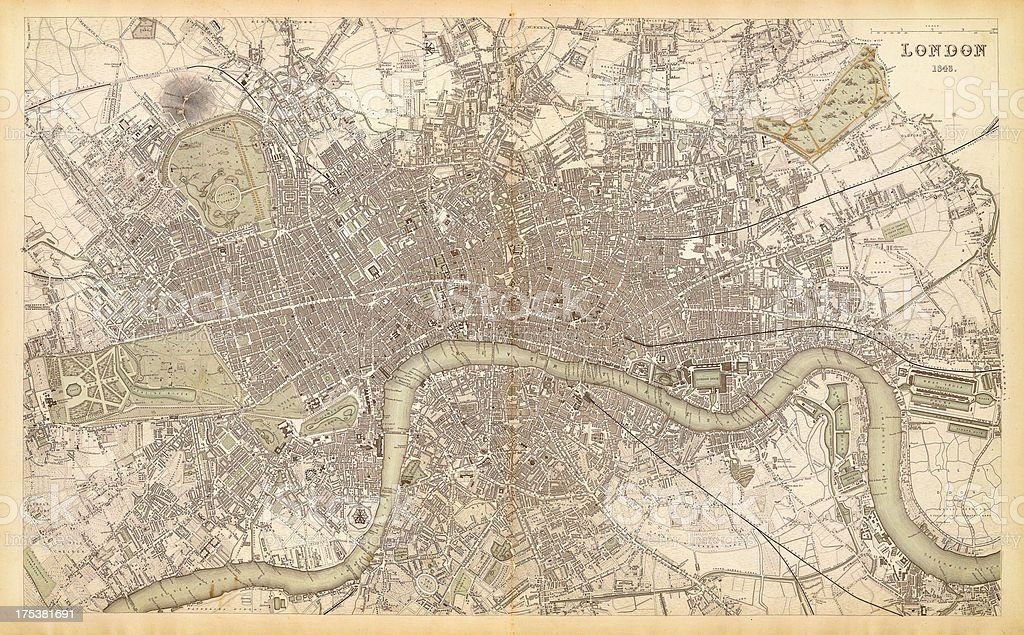 map of london 1843 vector art illustration