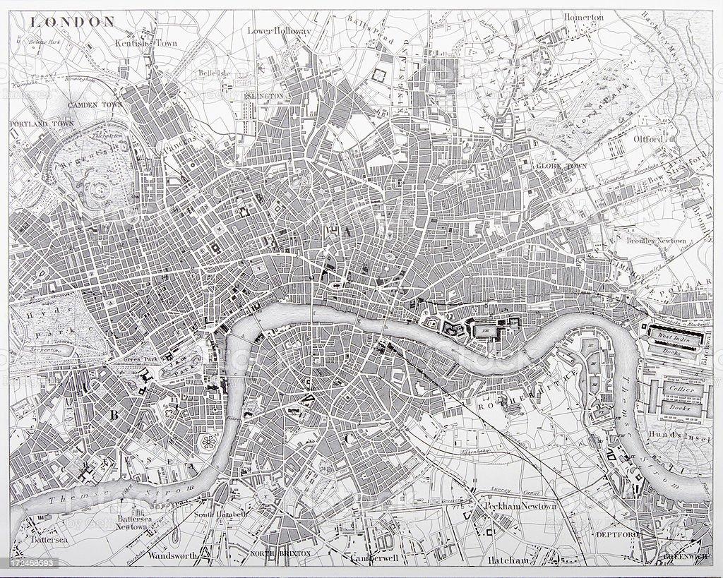 Map of London Engraving vector art illustration