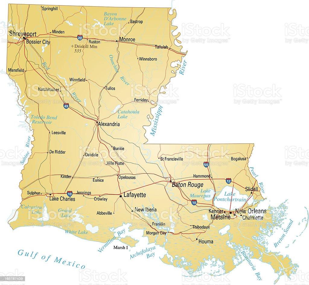 Map of Louisiana royalty-free stock vector art