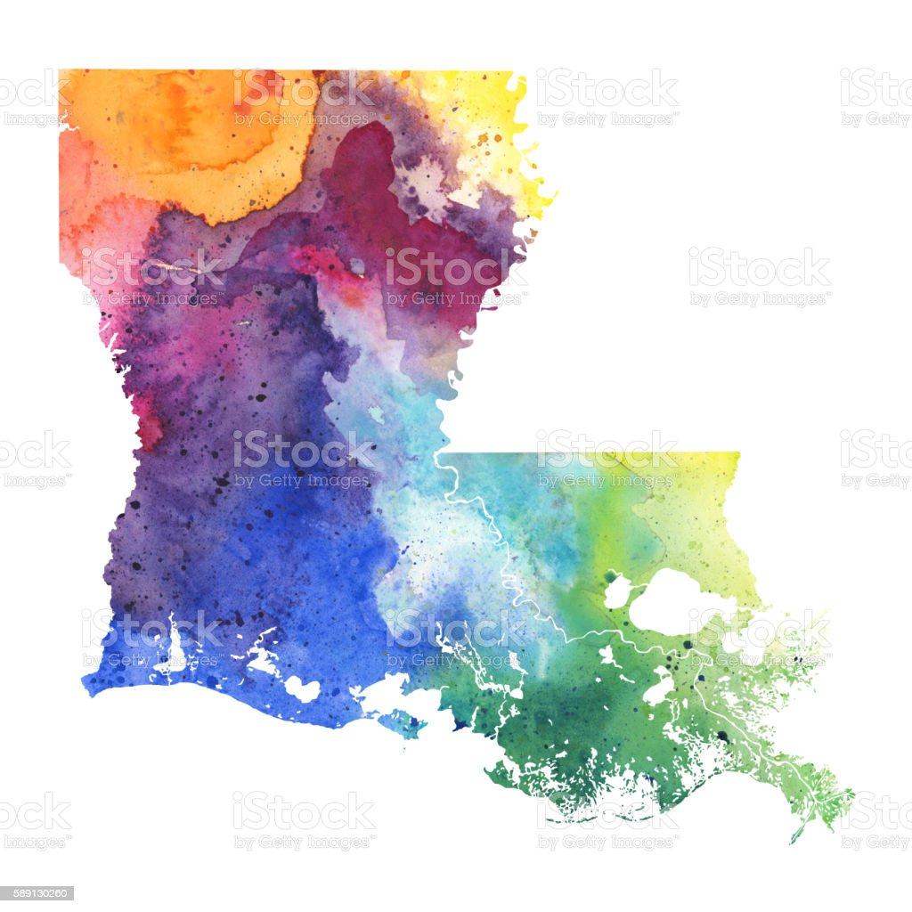 Map of Louisiana with Watercolor Texture - Raster Illustration vector art illustration