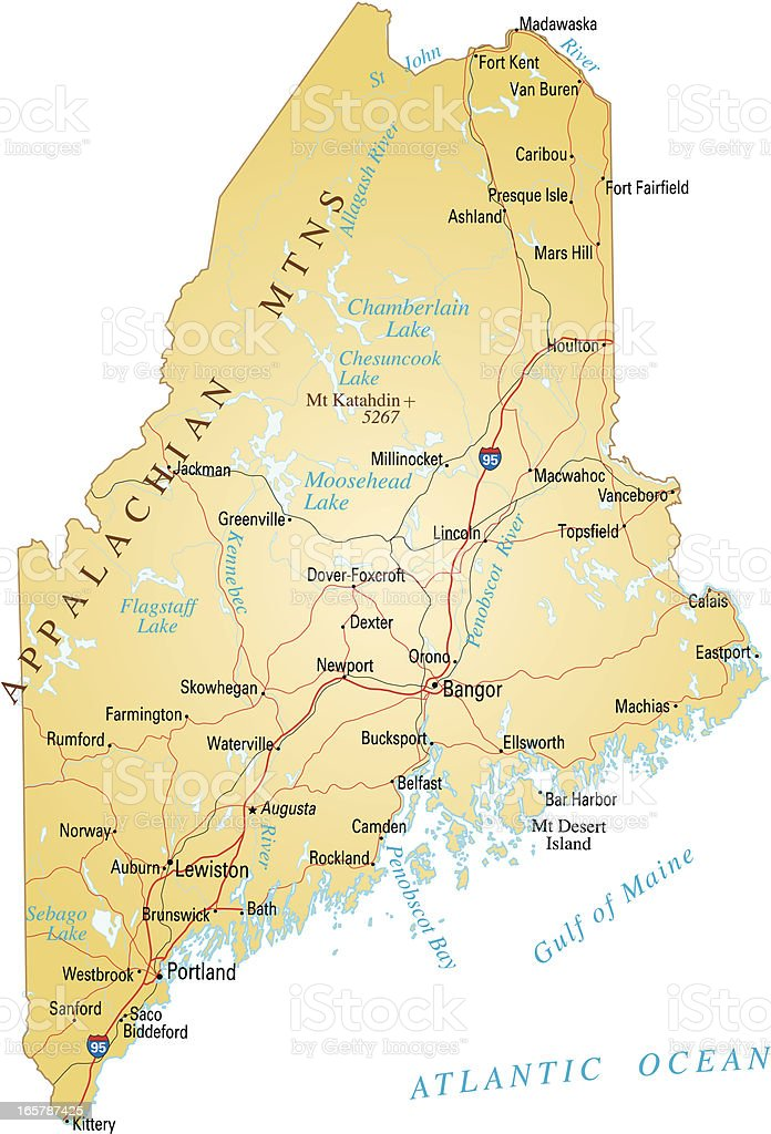 Map of Maine vector art illustration