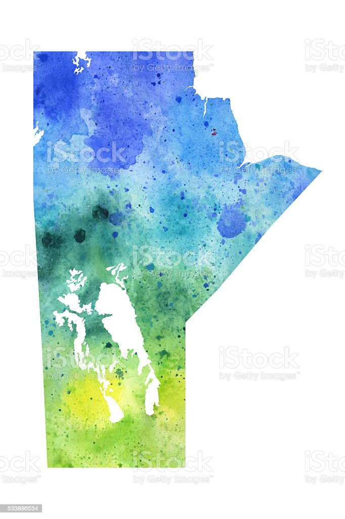 Map of Manitoba with Watercolor Texture - Raster Illustration vector art illustration