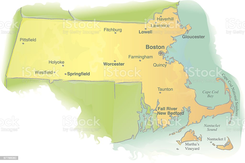 Map of Massachusetts - Watercolor style royalty-free stock vector art