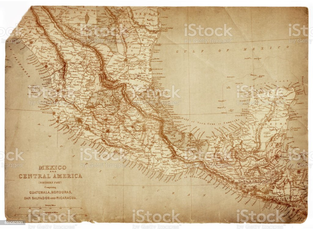 Map of Mexico and Central America 1873 vector art illustration