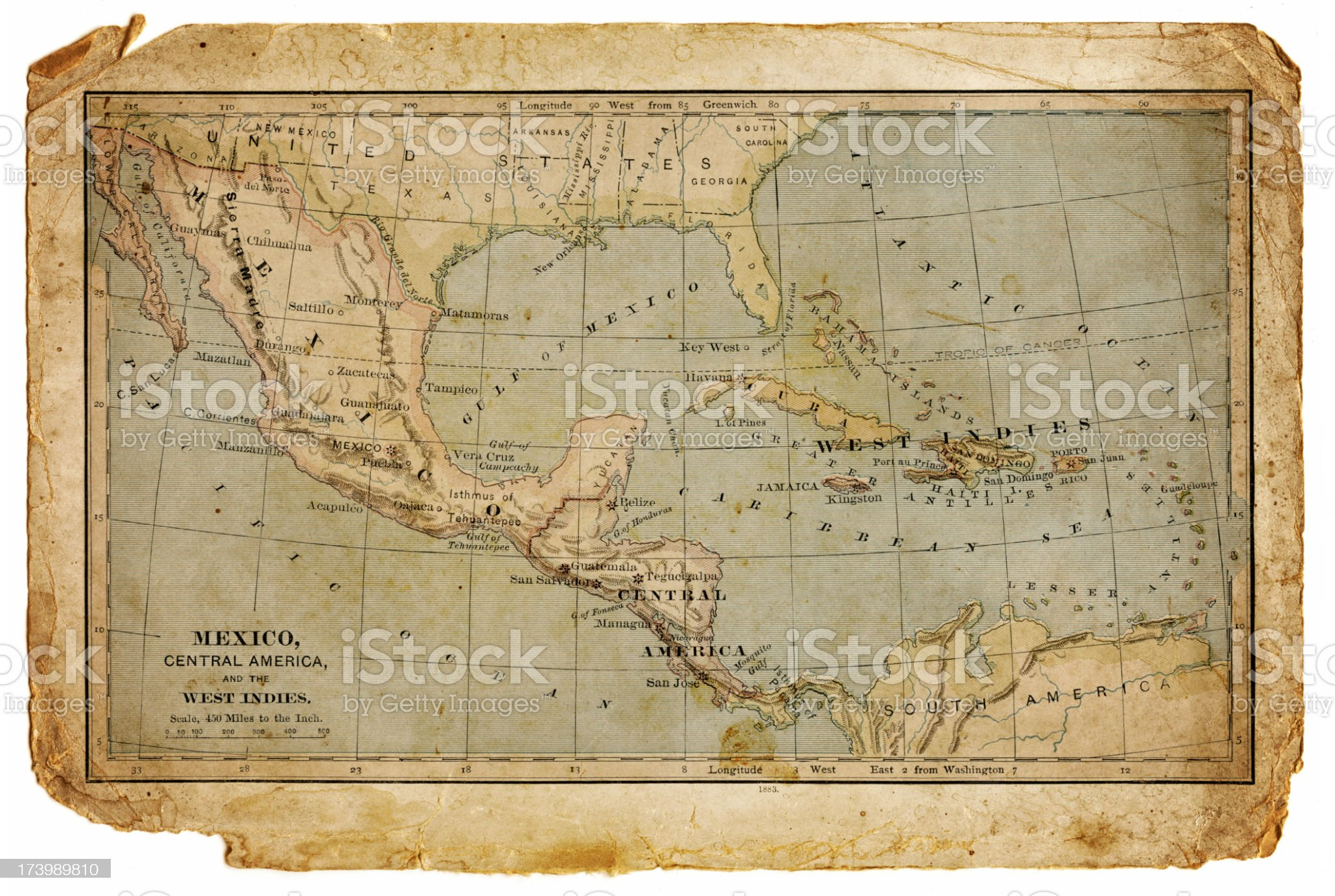 map of mexico, central america and the west indies royalty-free stock vector art