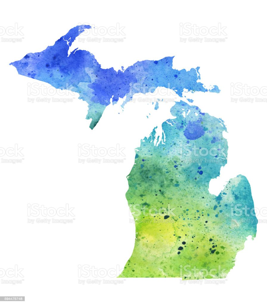 Map of Michigan with Watercolor Texture - Raster Illustration vector art illustration
