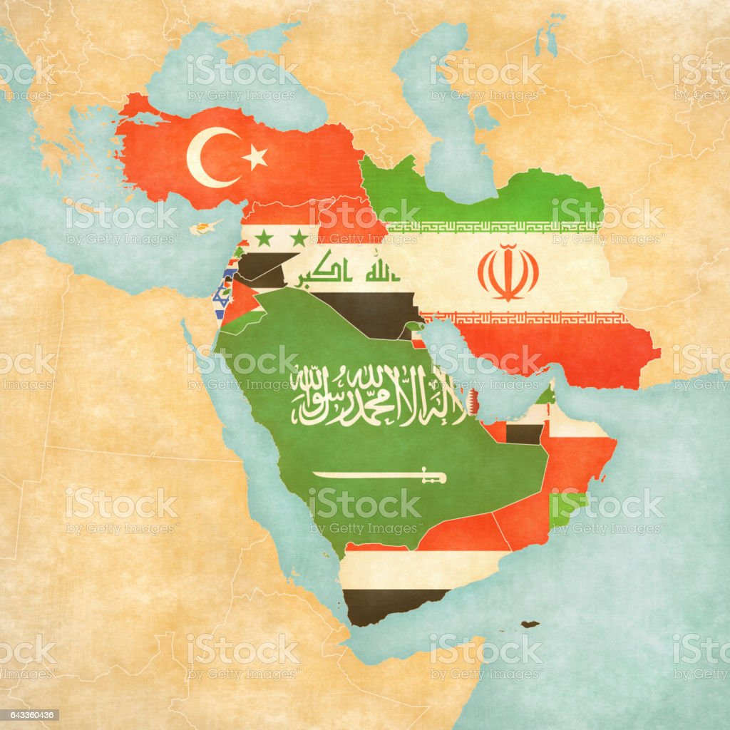 Map of Middle East - Asia - All Countries vector art illustration