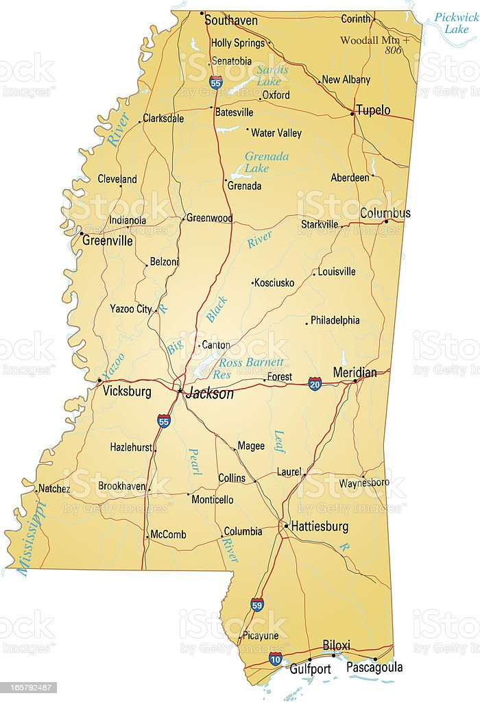 Map of Mississippi royalty-free stock vector art