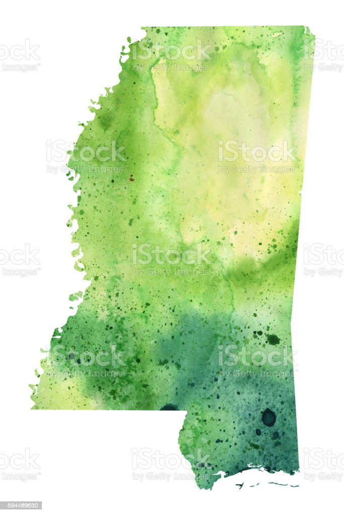 Map of Mississippi with Watercolor Texture - Raster Illustration vector art illustration
