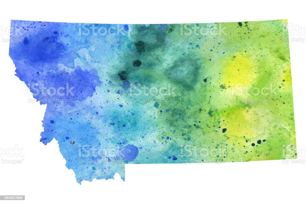 Map of Montana with Watercolor Texture - Raster Illustration vector art illustration
