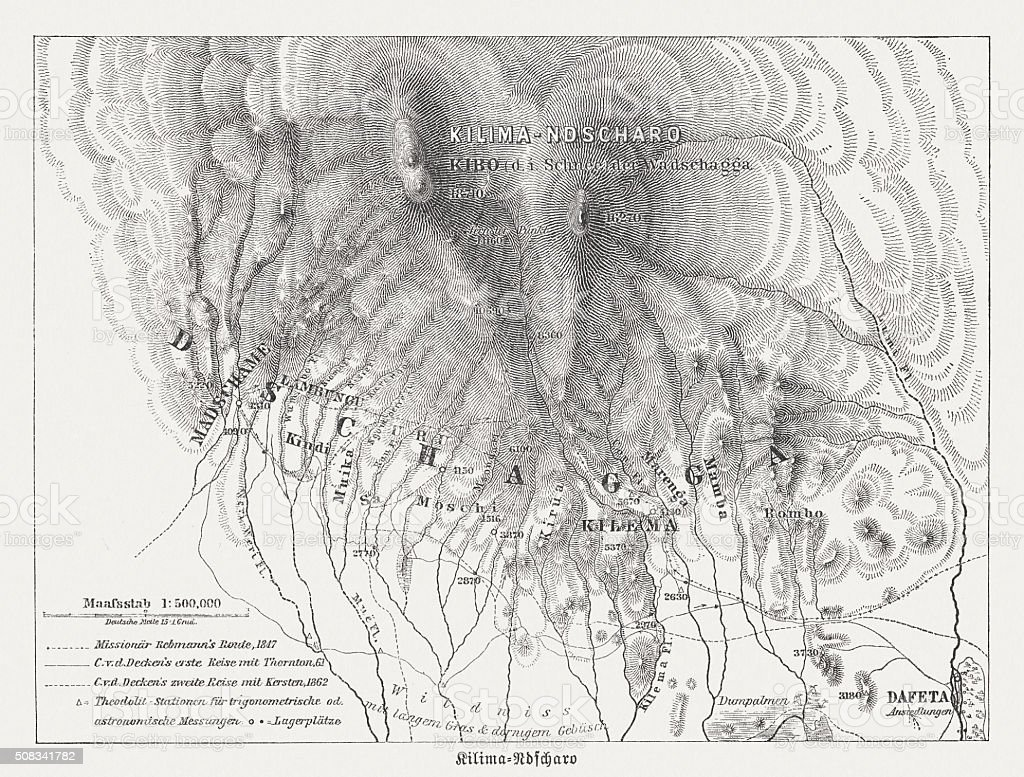 Map of Mount Kilimanjaro, wood engraving, published in 1882 vector art illustration