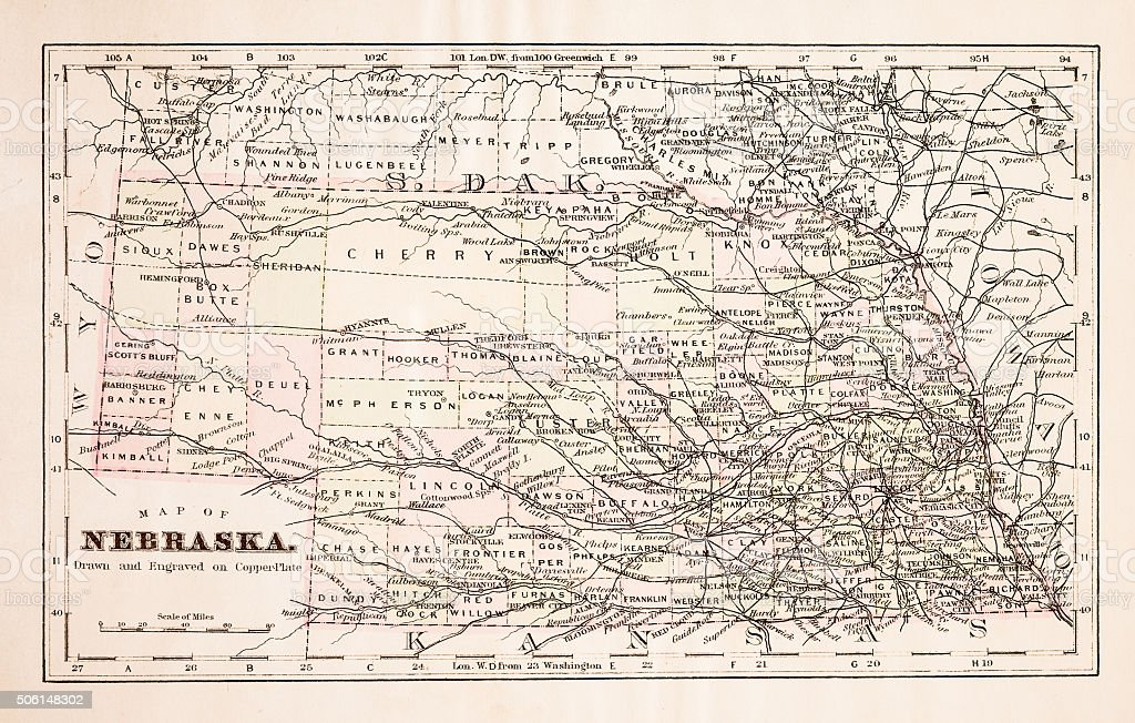 Map of Nebraska 1894 vector art illustration
