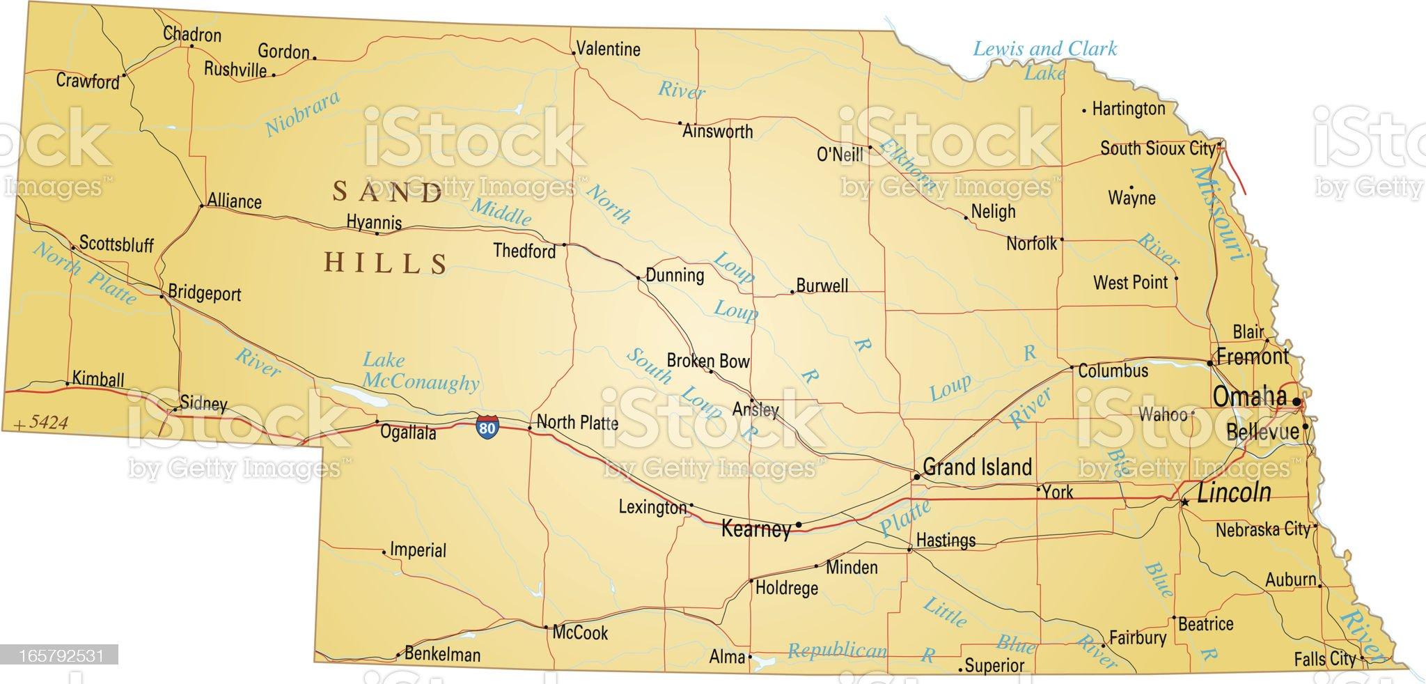 Map of Nebraska royalty-free stock vector art