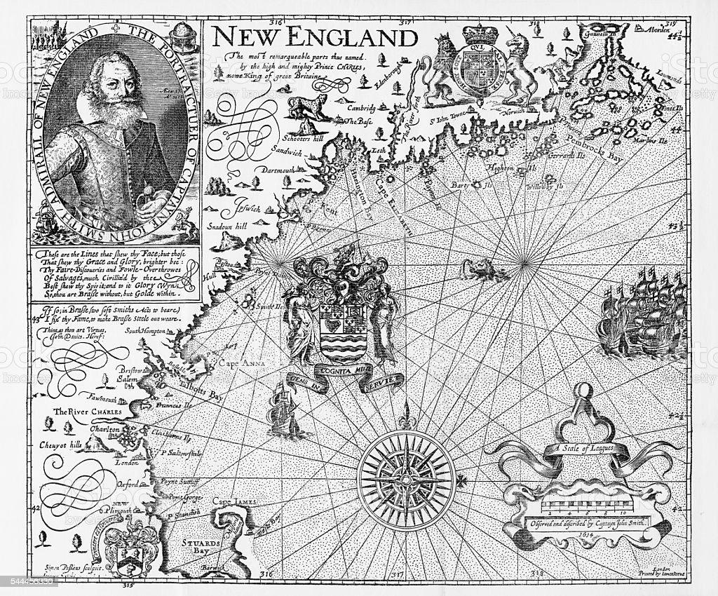Map of New England by Explorer John Smith, Circa 1624 vector art illustration