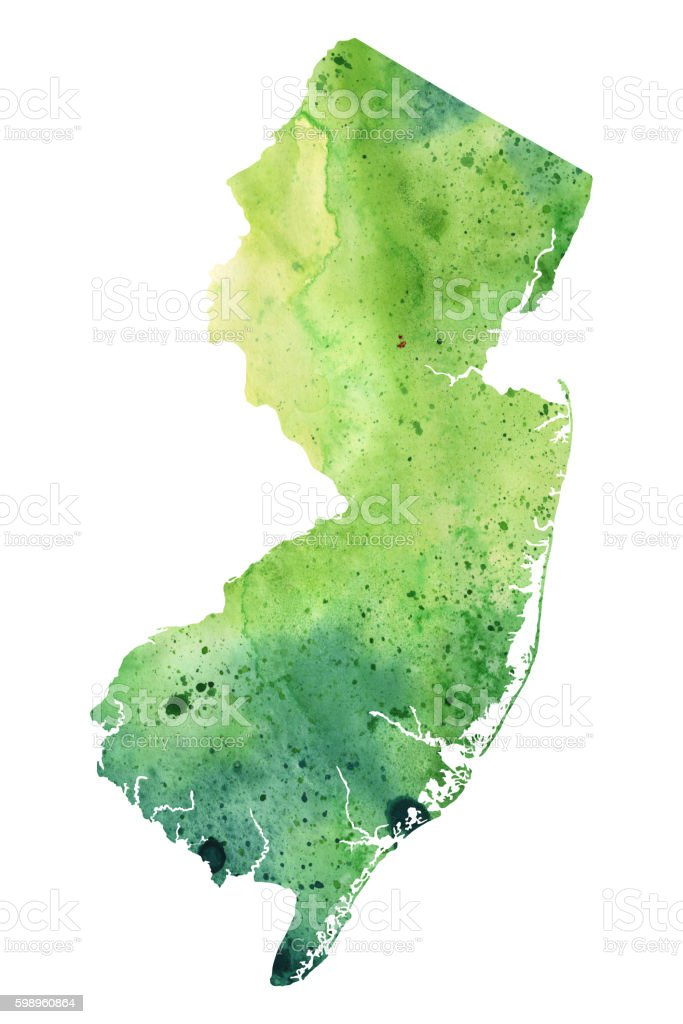 Map of New Jersey with Watercolor Texture - Raster Illustration vector art illustration