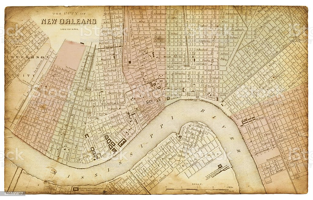 Map of New Orleans 1865 vector art illustration