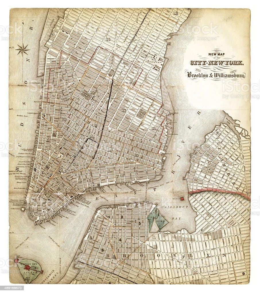 Map of New York City 1840 vector art illustration