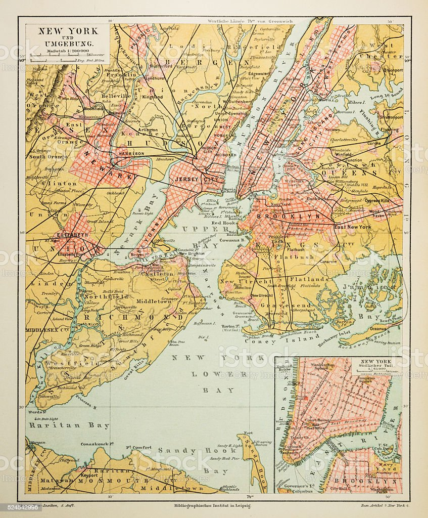 Map of New York city 1895 vector art illustration