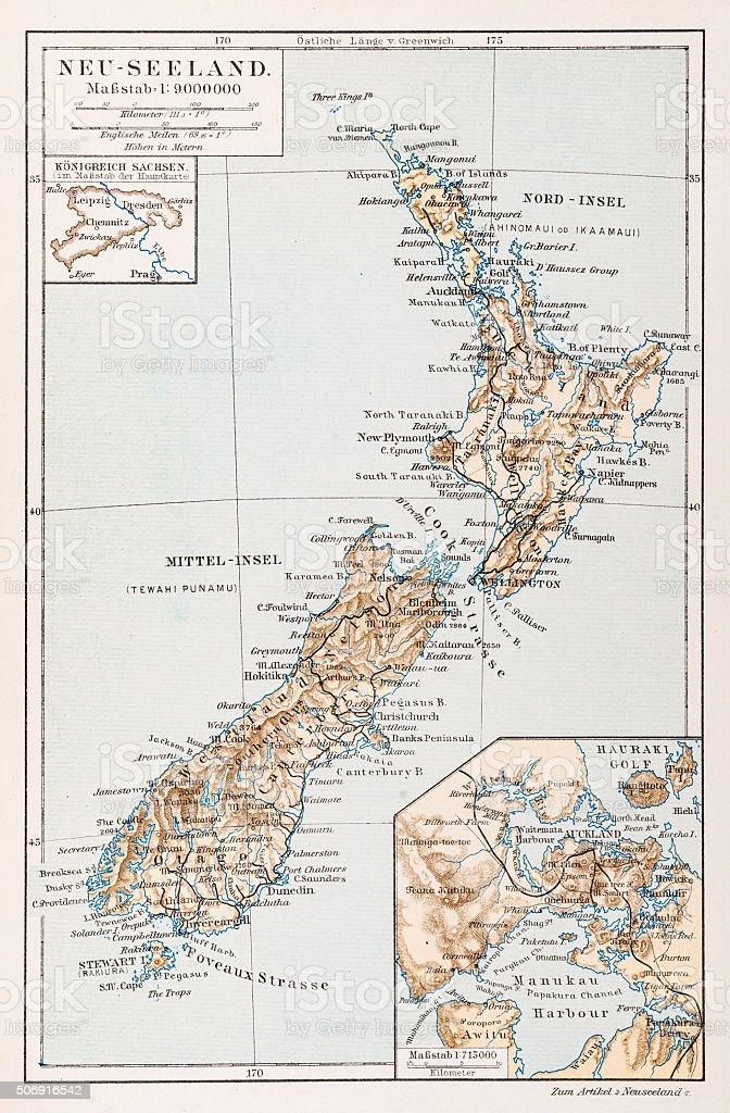 Map of New Zealand 1897 vector art illustration