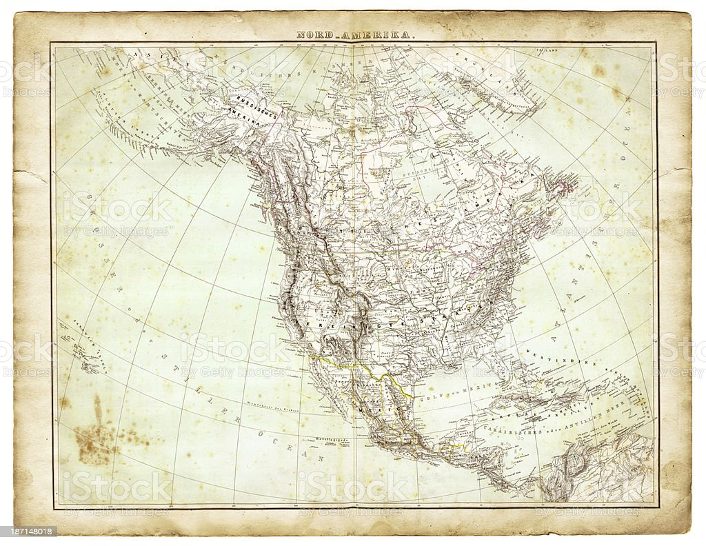 Map of North America 1847 royalty-free stock vector art