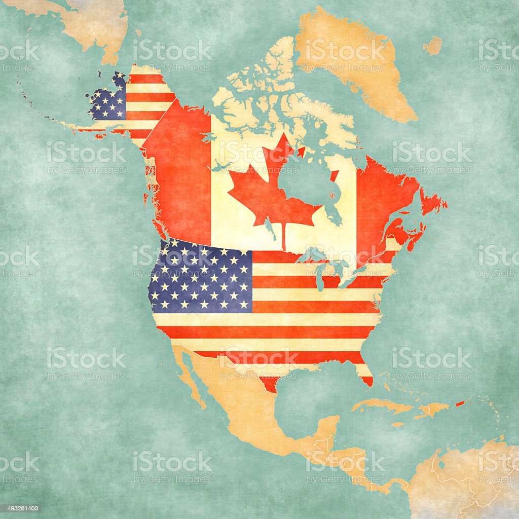Map of North America - USA and Canada (Vintage Series) vector art illustration