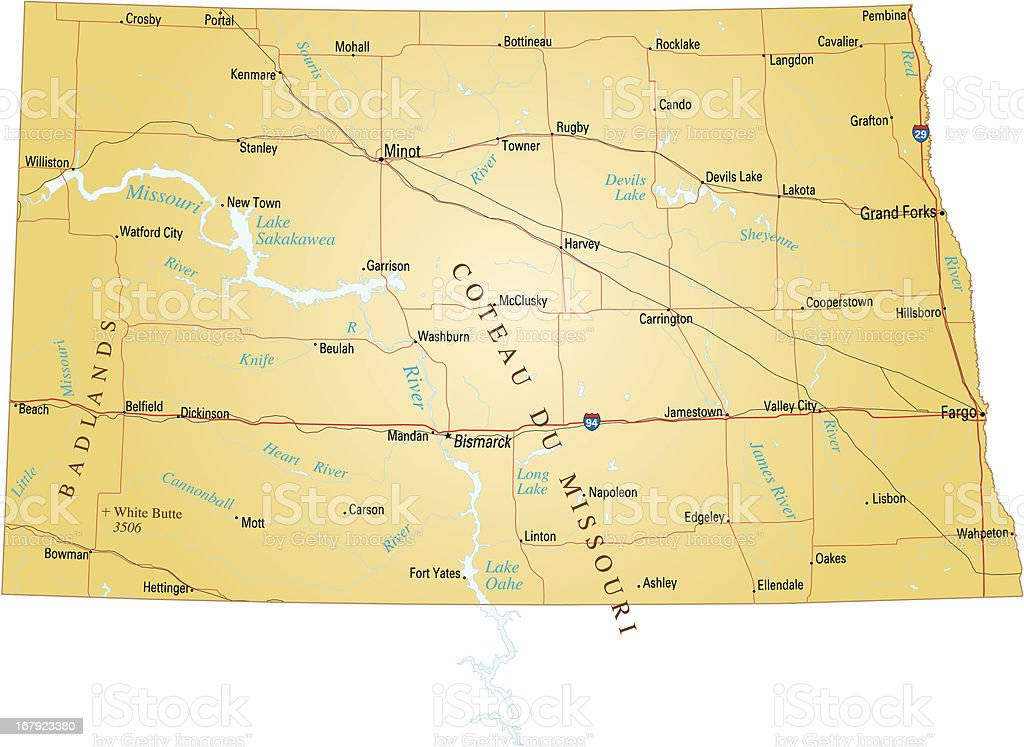 Map of North Dakota royalty-free stock vector art