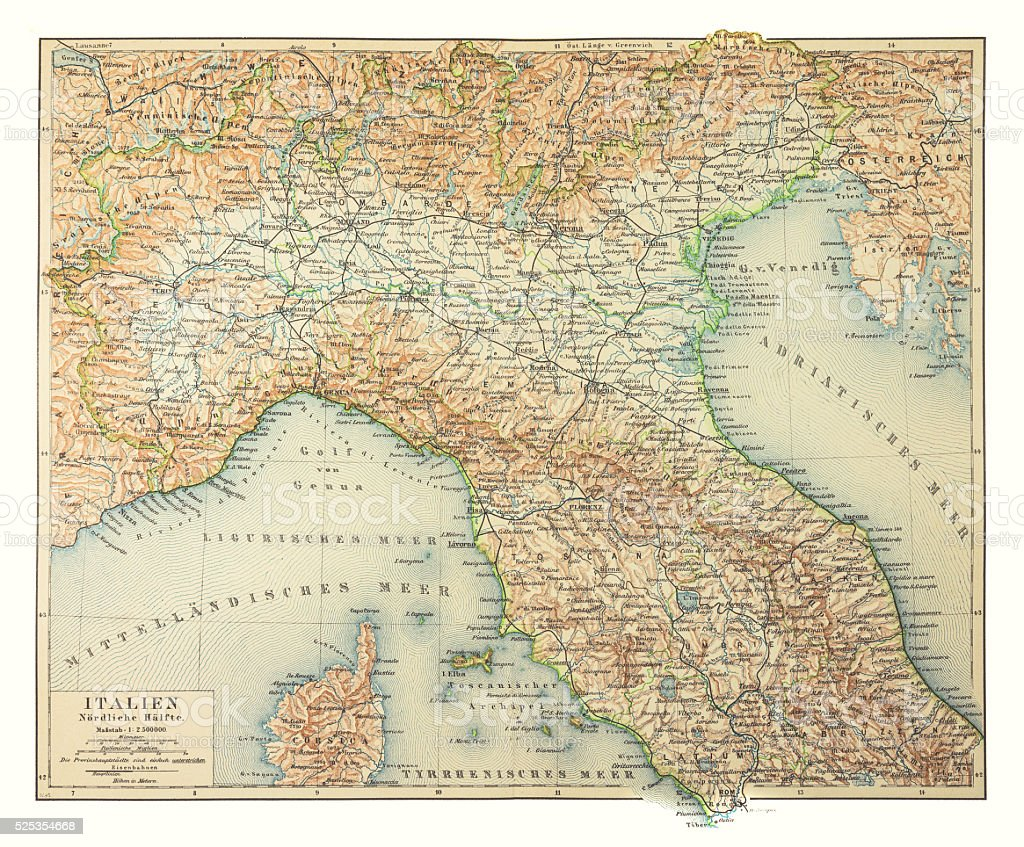 Map of northern Italy 1895 stock photo