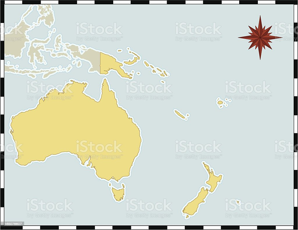 Map of Oceania royalty-free stock vector art