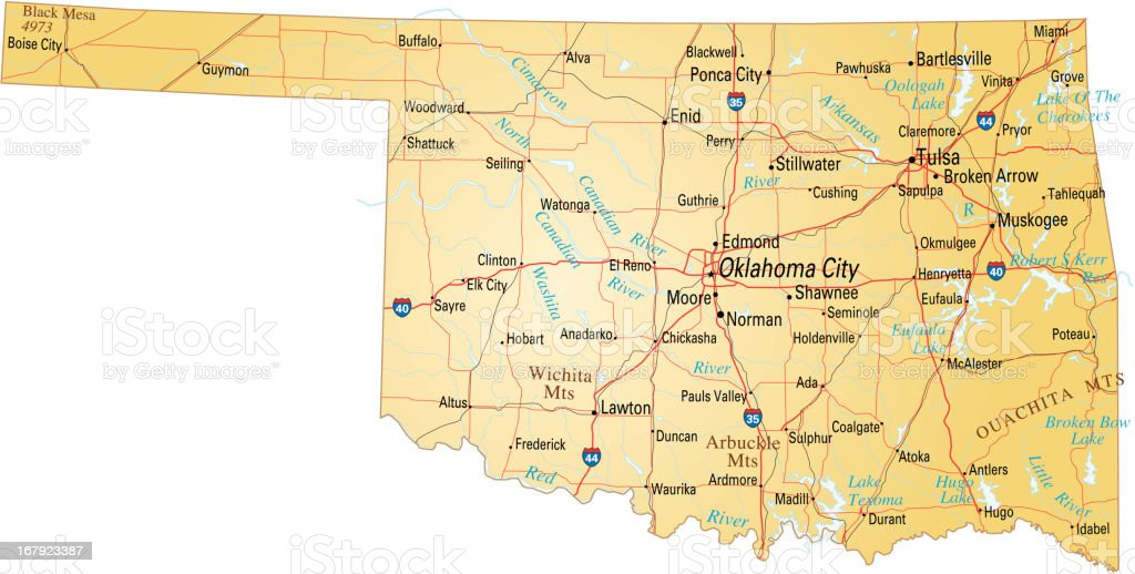 map of Oklahoma vector art illustration