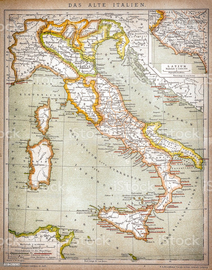 Map of old Italy vector art illustration