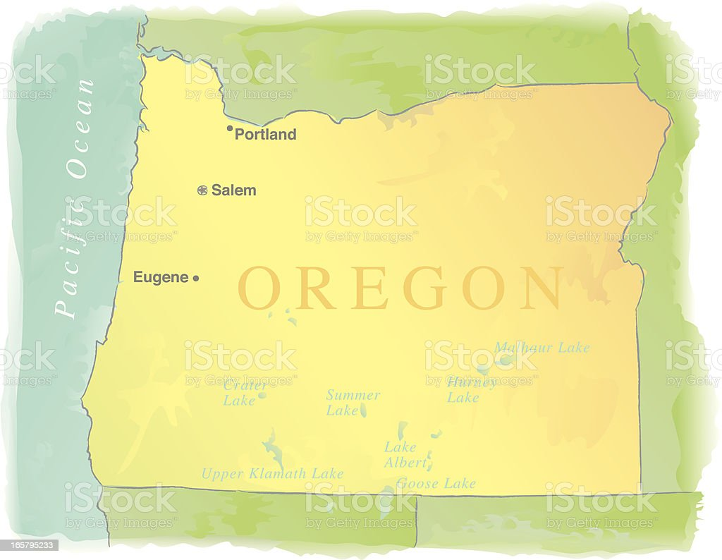 Map of Oregon - Watercolor style vector art illustration