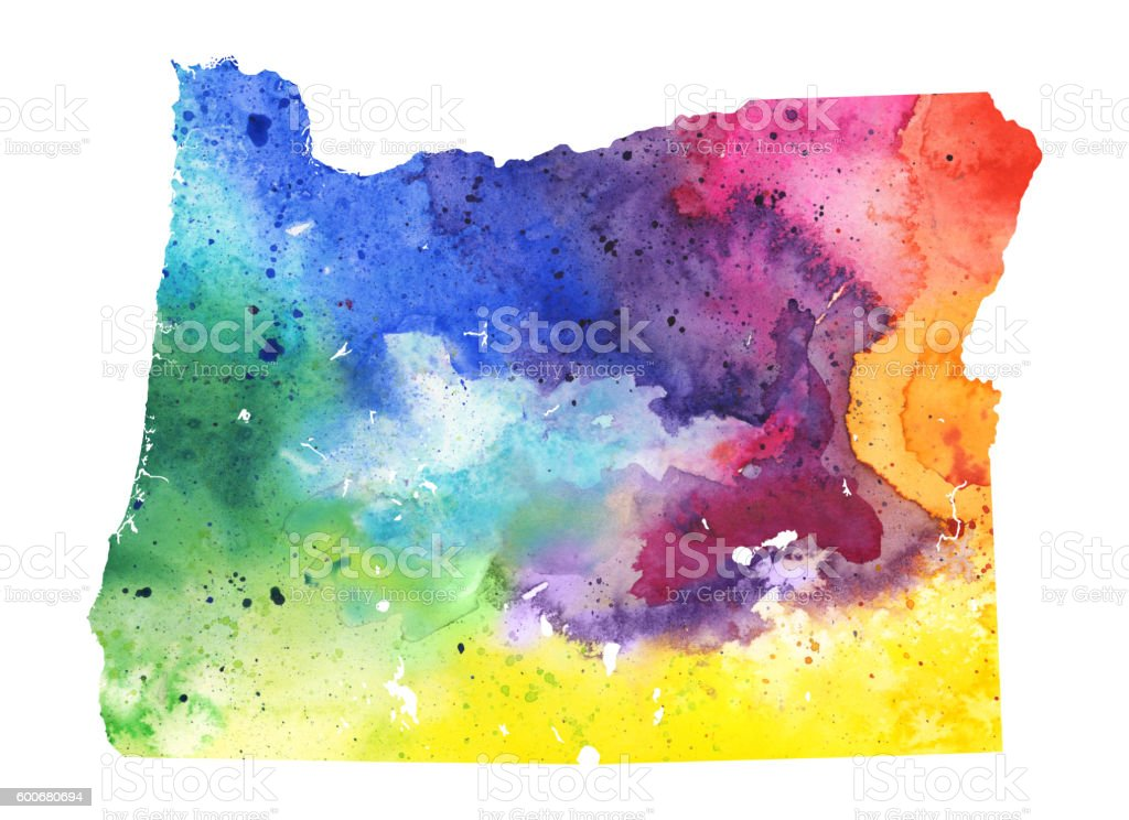 Map of Oregon with Watercolor Texture - Raster Illustration vector art illustration