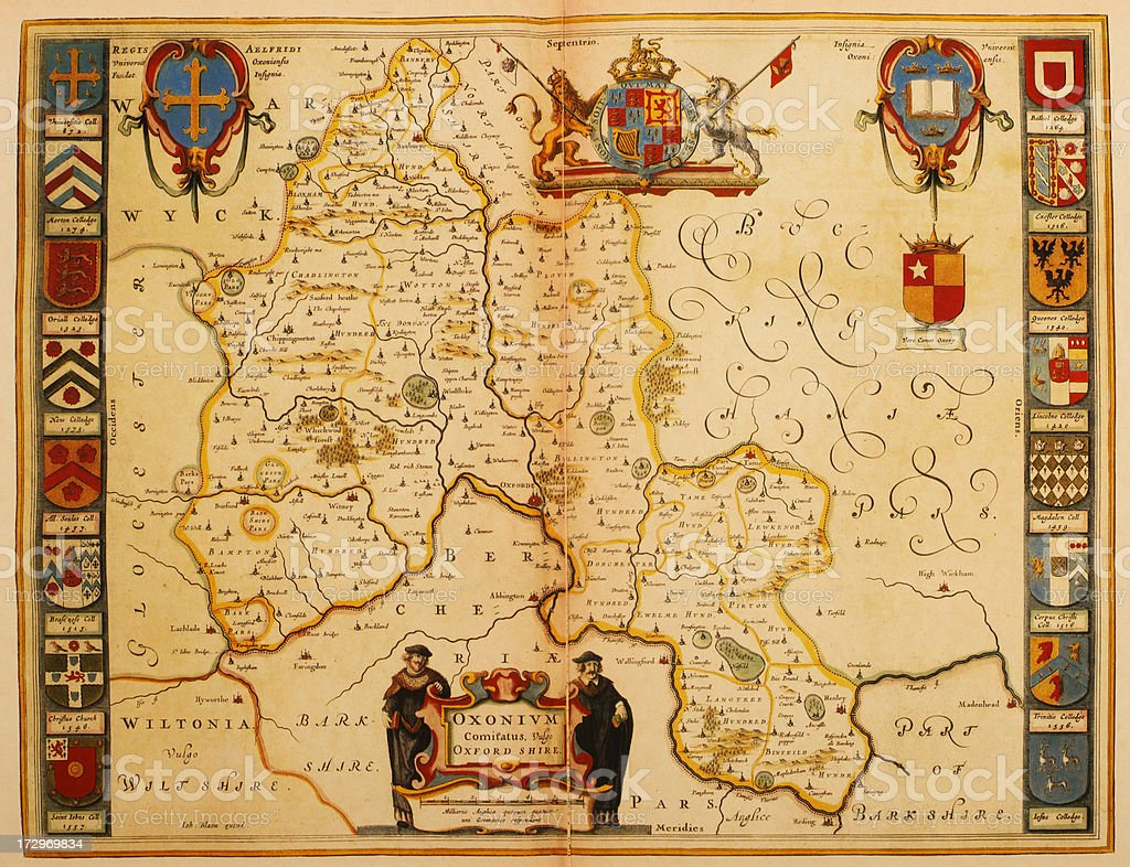 Map of Oxfordshire 1635 royalty-free stock vector art
