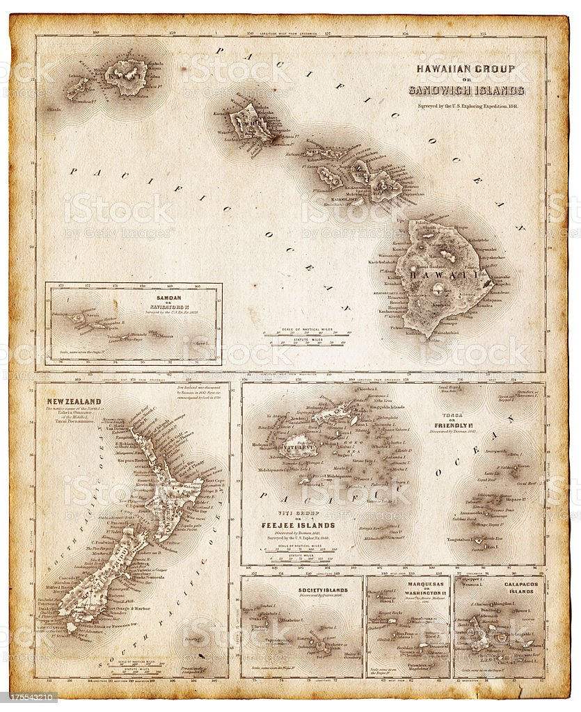 map of pacific islands 1855 vector art illustration