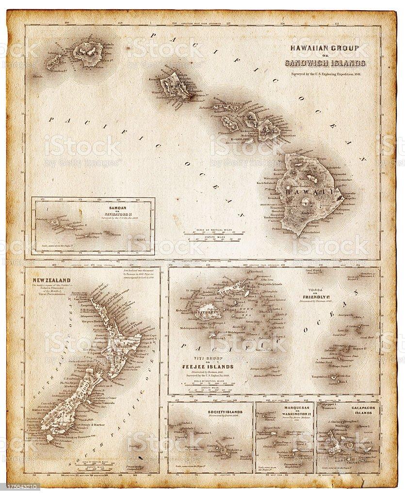 map of pacific islands 1855 vector art illustration