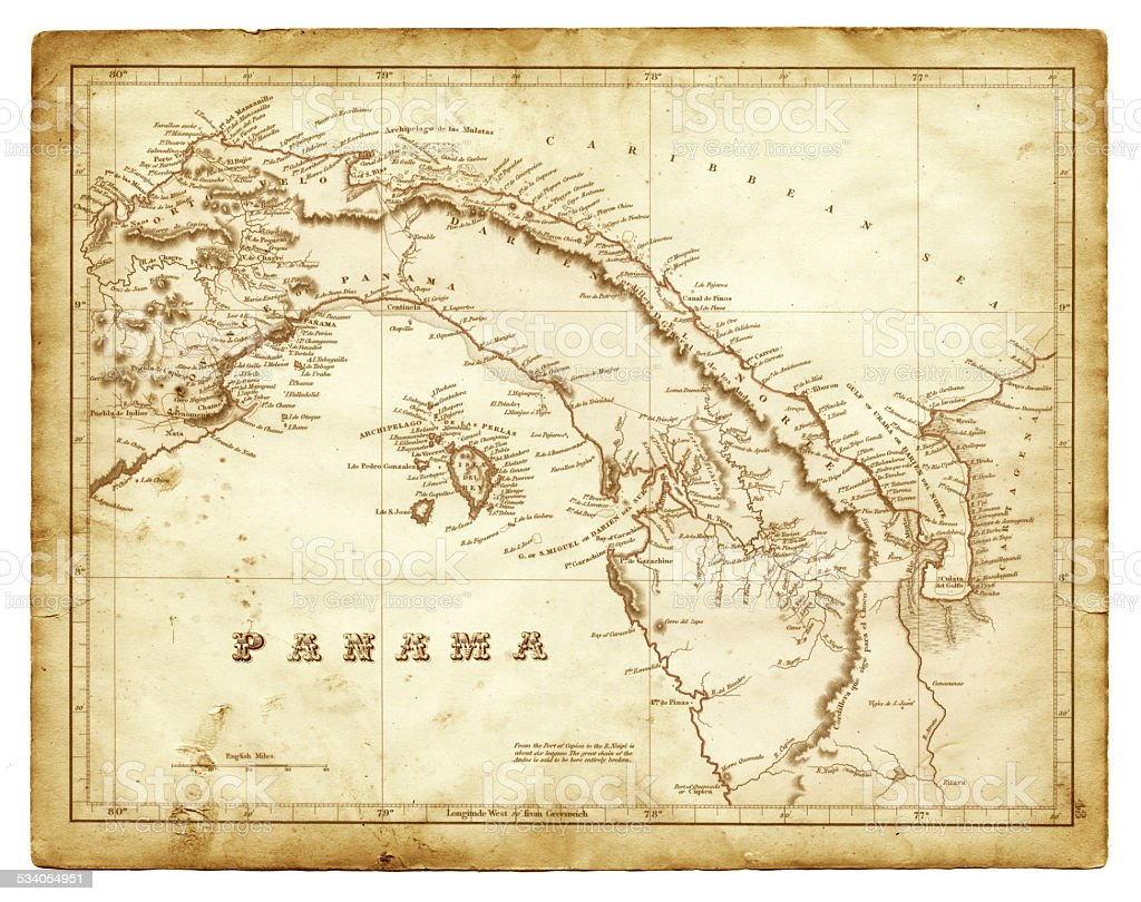 Map of Panama 1825 vector art illustration