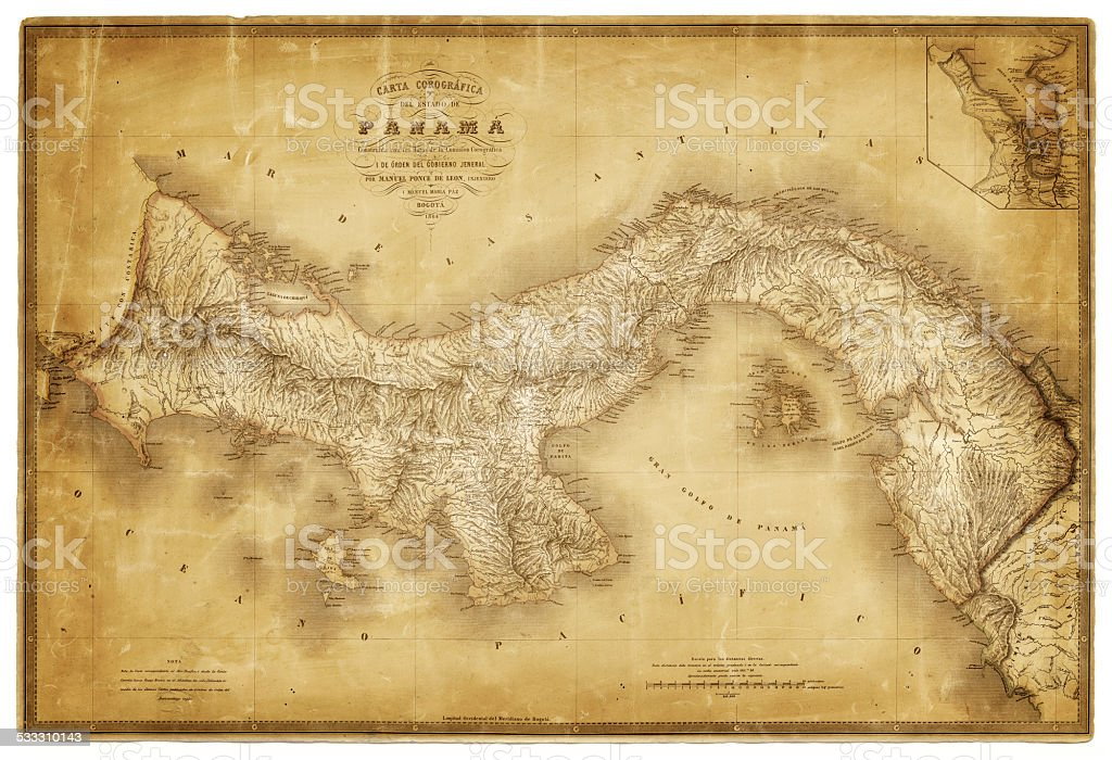 Map of Panama 1864 vector art illustration